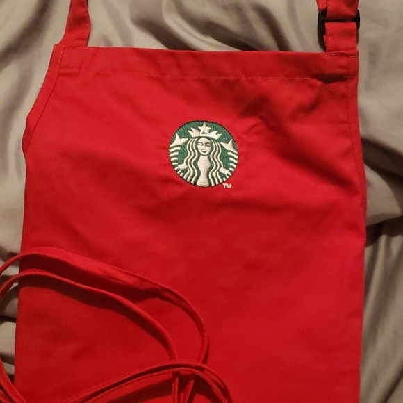 Red Starbucks apron